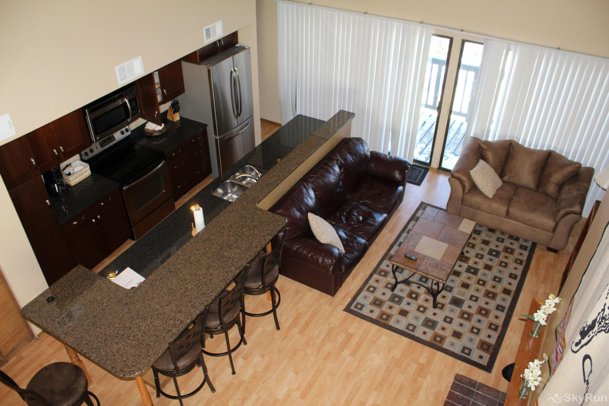 2533 New Lamartine 3BR 2BA with loft Aerial View of Living Area & Kitchen